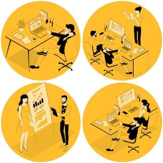Plantilla de color de moda para el trabajo en equipo y el flujo de trabajo para la presentación