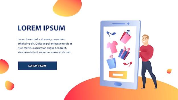 Plantilla de color plano de sitio web de compras en línea
