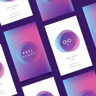 Plantilla en colores pastel para tarjetas de visita de degradado