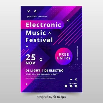 Plantilla colorida abstracta del cartel de la música electrónica