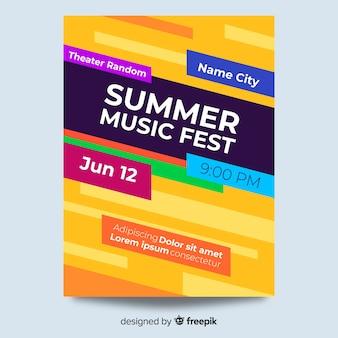 Plantilla colorida abstracta de poster de festival de música