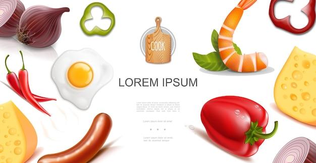 Plantilla colorida de alimentos saludables con pimientos rojos y chiles, cebolla, huevo, tortilla, queso, salchichas en estilo realista