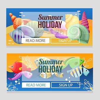 Plantilla colorida de la bandera de las vacaciones de verano con el ejemplo subacuático del vector del tema