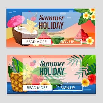 Plantilla colorida de la bandera de las vacaciones de verano con el ejemplo del vector del tema de la bebida del cóctel
