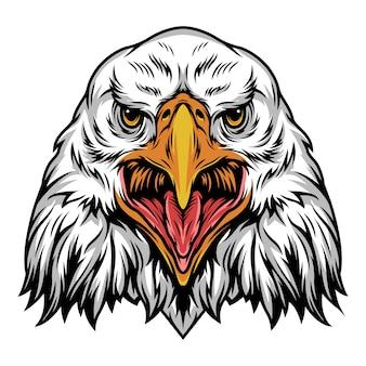Plantilla colorida cabeza de águila enojada