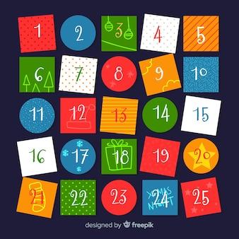 Plantilla colorida de calendario de navidad
