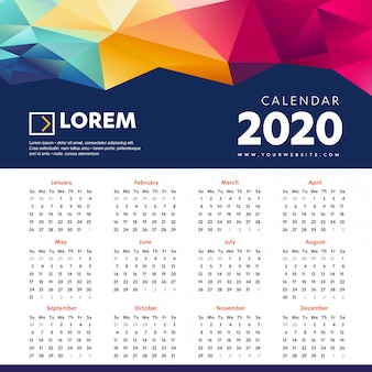 Plantilla colorida de calendario de pared 2020