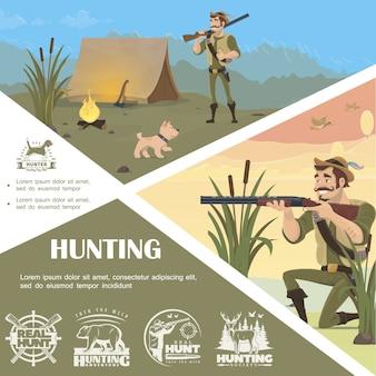 Plantilla colorida de caza plana con pie y apuntando etiquetas monocromáticas de persecución de perros de campamento de cazadores