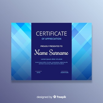 Plantilla colorida de certificado con diseño plano