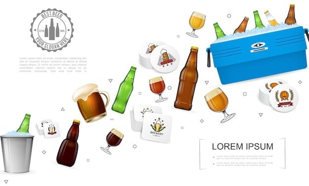 Plantilla colorida de cervecería realista