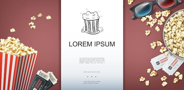 Plantilla colorida de cine con lugar para entradas de cine de texto caja de gafas 3d y cubo de palomitas de maíz en estilo realista