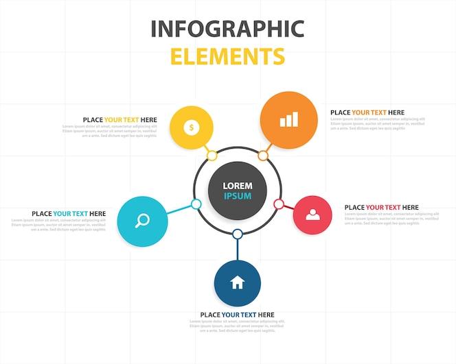 Plantilla colorida circular infográfica de negocios