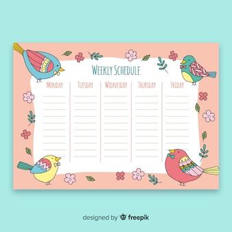 Plantilla colorida de horario semanal con animales adorables