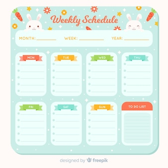 Plantilla colorida de horario semanal con animales adorables
