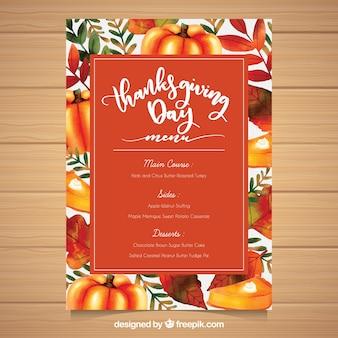 Plantilla colorida de menú del día de acción de gracias