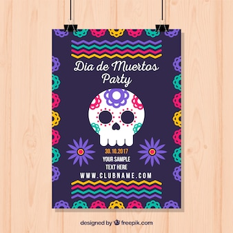 Plantilla colorida de póster de fiesta mexicana