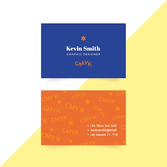 Plantilla colorida divertida de la tarjeta de visita del diseñador gráfico