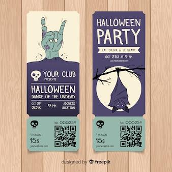 Plantilla colorida de entradas de fiesta de halloween dibujada a mano