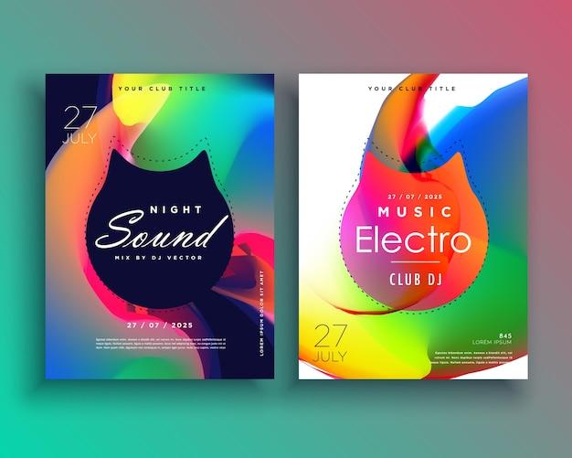 Plantilla colorida de flyer de fiesta electrónica