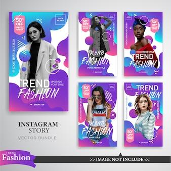 Plantilla colorida de las historias de instagram de la venta de la moda