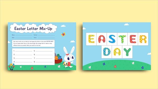 Plantilla colorida de hoja de trabajo de pascua de mezcla de letras infantiles