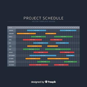 Plantilla colorida de horario de projecto con diseño plano