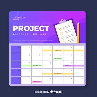 Plantilla colorida de horario de proyecto con estilo de degradado