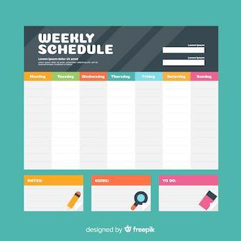 Plantilla colorida de horario semanal con diseño plano