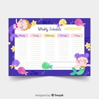 Plantilla colorida de horario semanal con estilo adorable