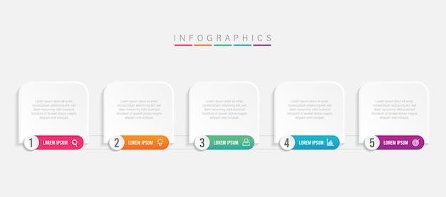 Plantilla colorida de infografía empresarial con iconos