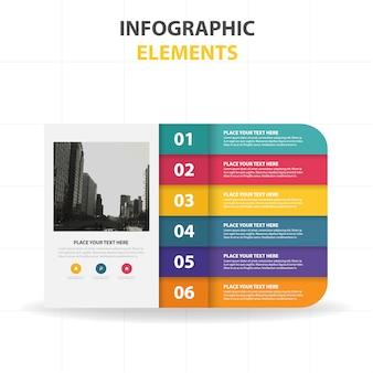 Plantilla colorida infográfica con pasos