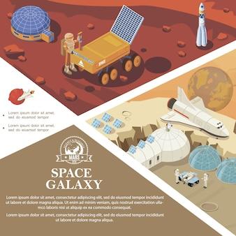 Plantilla colorida de investigación espacial isométrica con astronautas bases cósmicas y estaciones lanzadera de cohetes rover en diferentes planetas