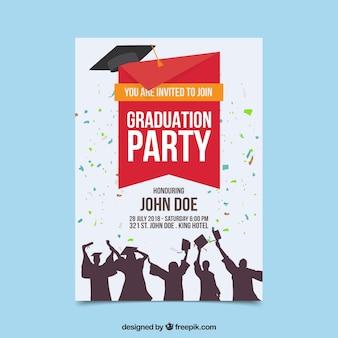 Plantilla colorida de invitación a graduación con diseño plano