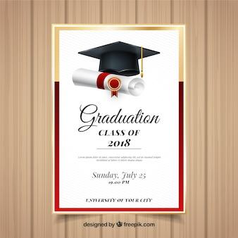 Plantilla colorida de invitación a graduación con diseño realista