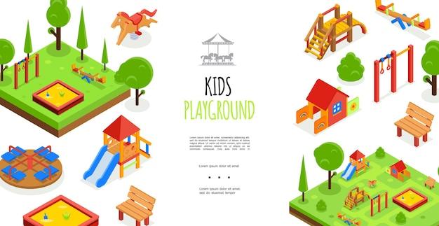 Plantilla colorida isométrica del parque infantil