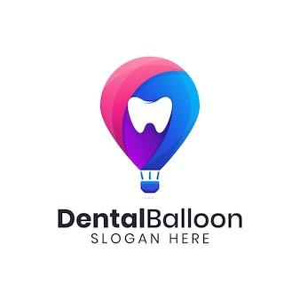 Plantilla colorida de logotipo de aire de globo dental