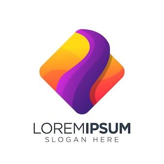 Plantilla colorida de logotipo cuadrado simple