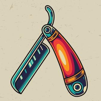 Plantilla colorida de la maquinilla de afeitar recta vintage