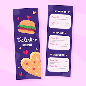 Plantilla colorida del menú del día de san valentín