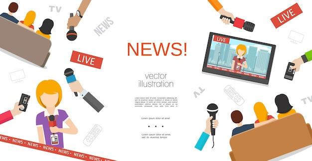 Plantilla colorida de noticias planas