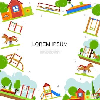 Plantilla colorida de parque infantil plano