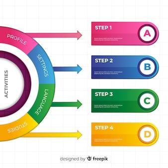 Plantilla colorida de pasos de infografía