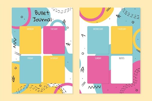 Plantilla colorida del planificador del diario de la bala
