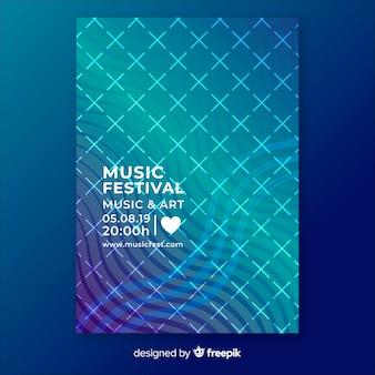 Plantilla colorida de poster de festival de música