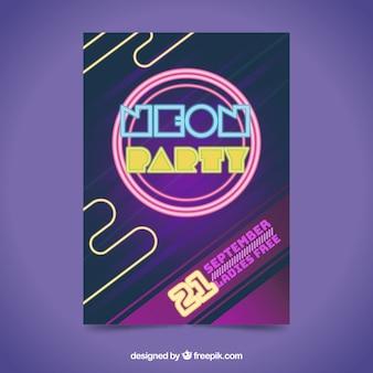 Plantilla colorida de póster de fiesta con luces de neón