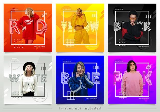 Plantilla colorida de publicaciones de medios sociales de estilo de moda