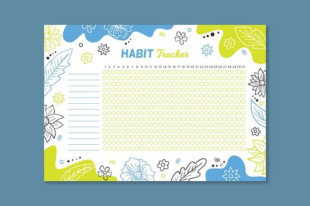 Plantilla colorida de seguimiento de hábitos