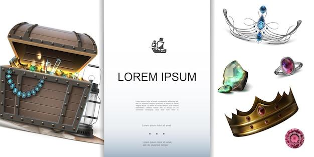 Plantilla colorida de tesoros piratas realistas con lugar para texto linterna cofre del tesoro diadema corona anillo piedras preciosas