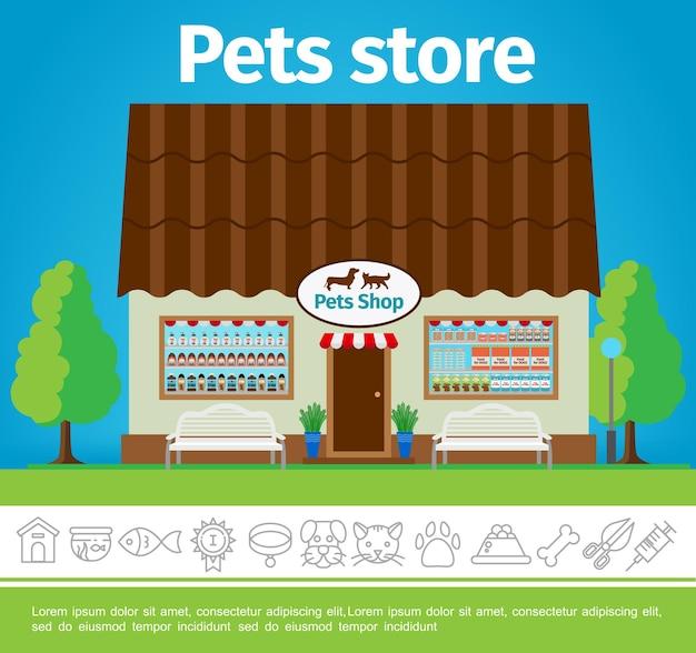 Plantilla colorida de tienda de mascotas plana con fachada de edificio de tienda e ilustración de iconos lineal de mascotas