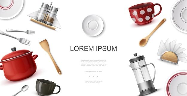 Plantilla colorida de utensilios de cocina realista con tazas de café platos tenedores cucharas espátula tetera cacerola servilletero salero y pimentero